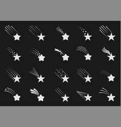 shooting star icons vector image