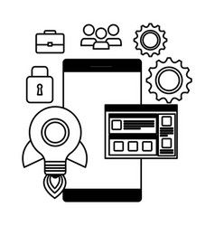 Smartphone with webpage template and set icons vector