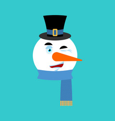 snowman winking emotion avatar happy emoji face vector image