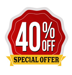 Special offer 40 off label or sticker vector