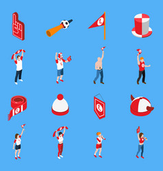 Sports fans with accessories isometric set vector
