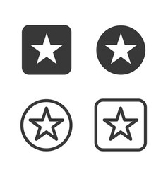 star icons fill and outline style vector image