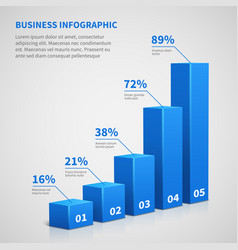 statistics business 3d graph bar chart vector image