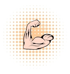 Strong biceps icon comics style vector