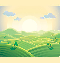 Summer hill background vector