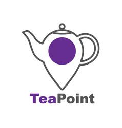 tea point logo bar emblem teapot or kettle vector image