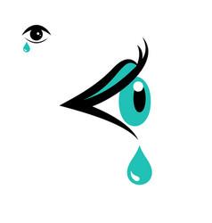 Tear icon and eye icon vector