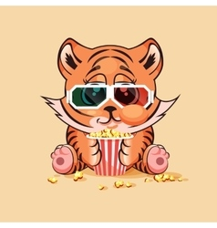 Tiger cub watching a movie vector