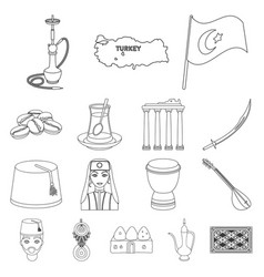 Turkey country outline icons in set collection for vector