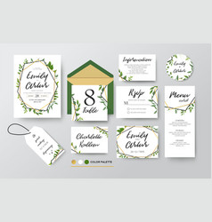 Wedding invite menu rsvp thank you card design vector