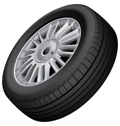 Wheel and tire isolated vector