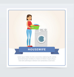 Young beautiful woman doing laundry housewif vector