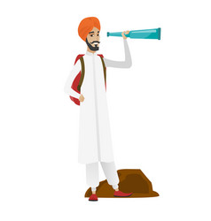 Young hindu traveler with spyglass vector