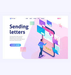 young man creates new email message send mail vector image