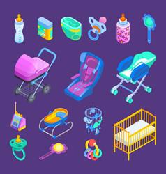 baby accessories isometric set vector image