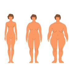 fat european women cartoon style human front side vector image vector image