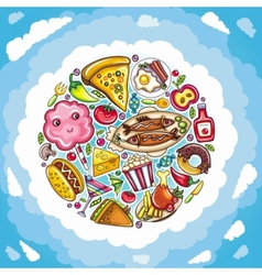 planet of delicious and funny food vector image