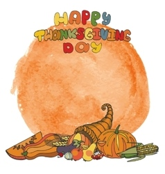 Thanksgiving dayDoodle harvestwatercolor splash vector image