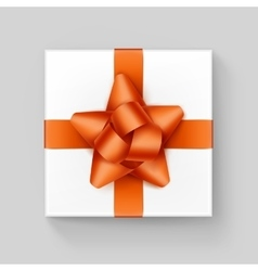 White Square Gift Box with Orange Ribbon Bow vector image