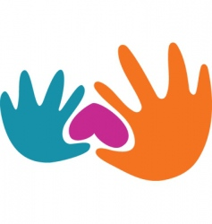 abstract hands and heart logo vector image