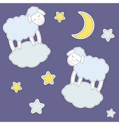 Cute sheepmoon and stars vector image