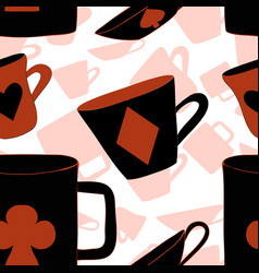 red cups with cards suits from wonderland vector image