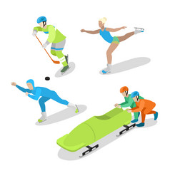 winter sports people isometric flat vector image