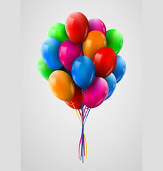 3d realistic colorful bunch of flying birthday vector image