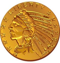 american dollar gold coin vector image vector image