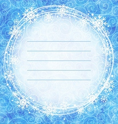 Frame of snowflakes on a watercolor background vector image