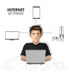 internet of things man network game mobile tv vector image
