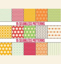 seamless patterns polka dots set vector image