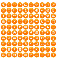 100 sneakers icons set orange vector image vector image