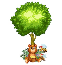 A bear and bees under the tree vector image vector image