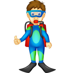 funny divers cartoon standing with smiling vector image