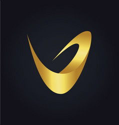letter v abstract gold logo vector image