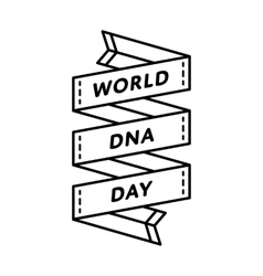 World DNA day greeting emblem vector image