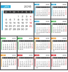 2015 Full Calendar multicolor template vector image