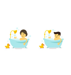 a man and woman takes a bath shower in the vector image