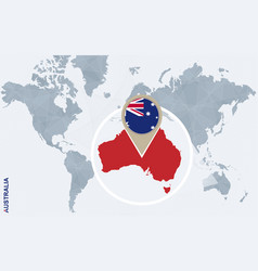 Abstract blue world map with magnified australia vector