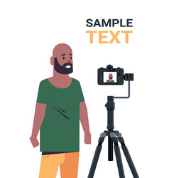 african american man blogger recording video blog vector image