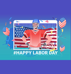 American football player with usa flag happy labor vector