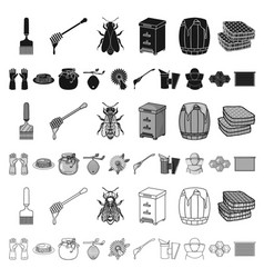 apiary and beekeeping cartoon icons in set vector image