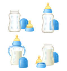 baby bottle realistic constructor set vector image