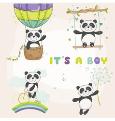 Baby panda set - shower or arrival card vector