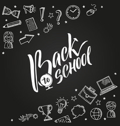 back to school background with doodle vector image