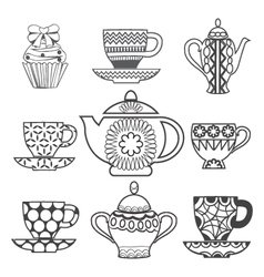 Background of Tea Time Tea cups pots and Cupcake vector image