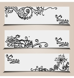 Banner templates set with floral elements vector