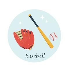 bat glove and ball baseball equipment vector image
