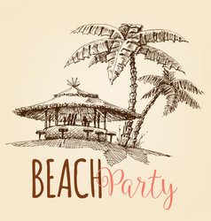beach party wallpaper beach bar and palm trees vector image
